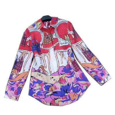 Online discount shop Australia - Luxury Colourful Printed Blouse & Full Sleeve Women Designer Shirts Plus Size XL