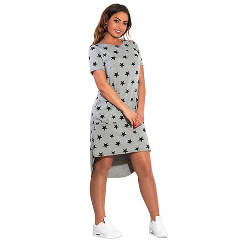 Online discount shop Australia - Fashion Print Star Summer Women Dresses bBg Sizes NEW Plus Size Women Clothing Knee-Length Dress Casual Loose Dress