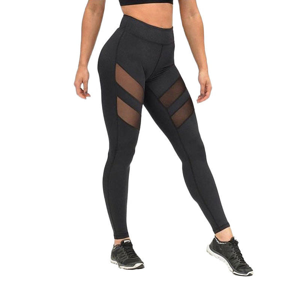 Online discount shop Australia - leggings for women mesh splice fitness slim black legging pants plus size sportswear clothes leggins