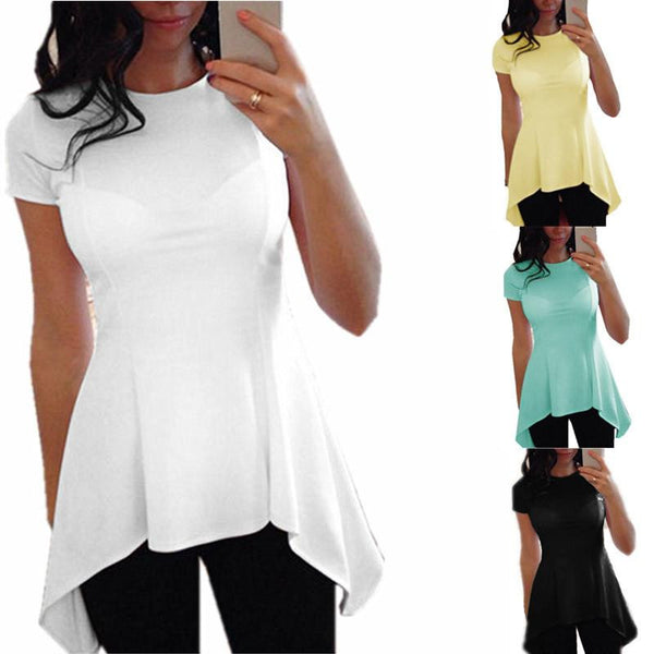 Style Women Blouse Fashion O-neck Short Sleeve Sexy Waist Slim Black White Tops Shirts Plus Size S-4XL