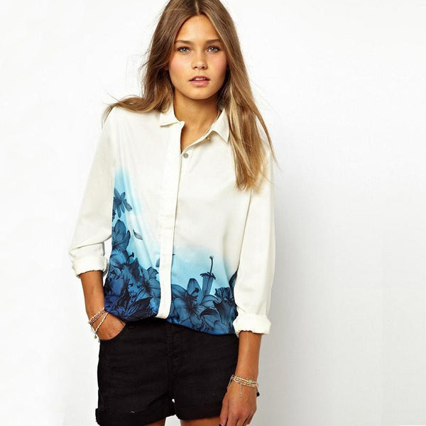 Online discount shop Australia - New  Printing Waist Fashion Style Retro Plus Size Stand Collar Full Sleeve Chiffon Shirt Women