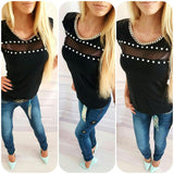 Online discount shop Australia - Fashion sexy women t shirt casual kawaii black chain rivet cotton hollow out lace clothing female tops shirts