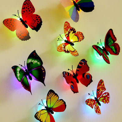 Online discount shop Australia - 10 pieces/lot wall stickers wall decoration butterfly butterfly LED lights wall stickers 3D house decoration new year decoration