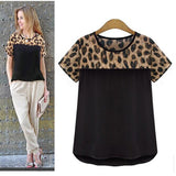 New Women 's clothing Leopard Printing Chiffon Short Casual Shirt Tops Blouse Plus size