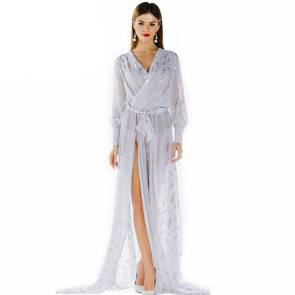 Online discount shop Australia - Missord Sexy deep-V long-sleeved printing two split maxi dress FT2858