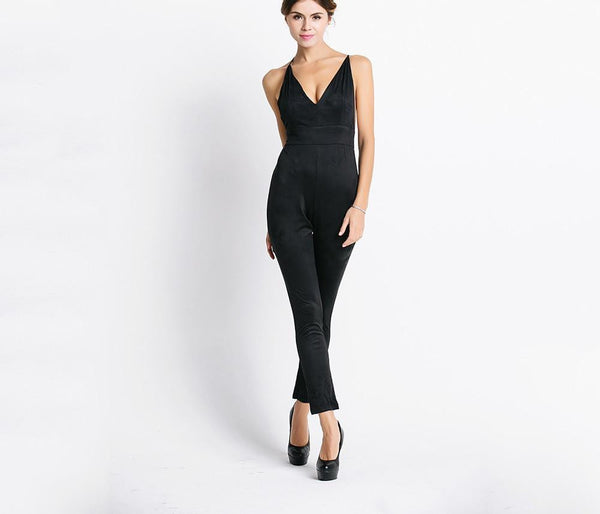 Sexy deep v halter cross JUMPSUITS FT3604