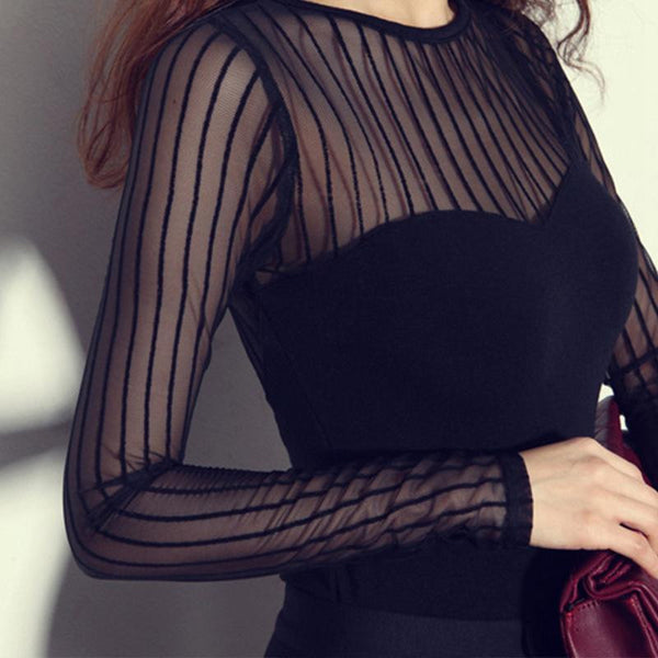 Online discount shop Australia - Korean Version Vertical Striped Sexy Lace Modal Base Shirt Round Neck Long-Sleeved Mesh Shirt Transparent Tops