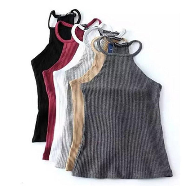 Shoulder Knitted Bustier Crop Top Women Round Neck Elastic Tube Tank Tops Knit Beach Camis Crop Tops 6 Colors