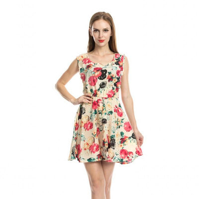 Top Quality Women Summer Sexy Low V-Neck Dress Long Sleeve Floral Mini Dress Retail/