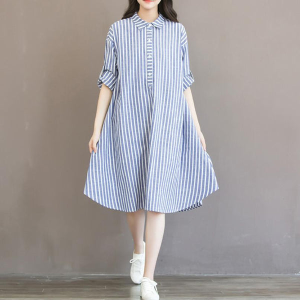 Striped Long Sleeve Comfortable Cotton Linen Loose Casual Shirt Dress Plus Size Women Dresses H243