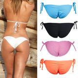 New Lady Sexy Scrunch Brazilian Ruched Semi Thong Bikini Bottom Women Tie Side Swimwear Fashion Beach Bottom