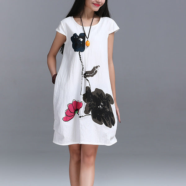 Fashion Summer Arts style High cotton linen Loose casual Women Dresses Vintage Ink Printing Short sleeve Dress