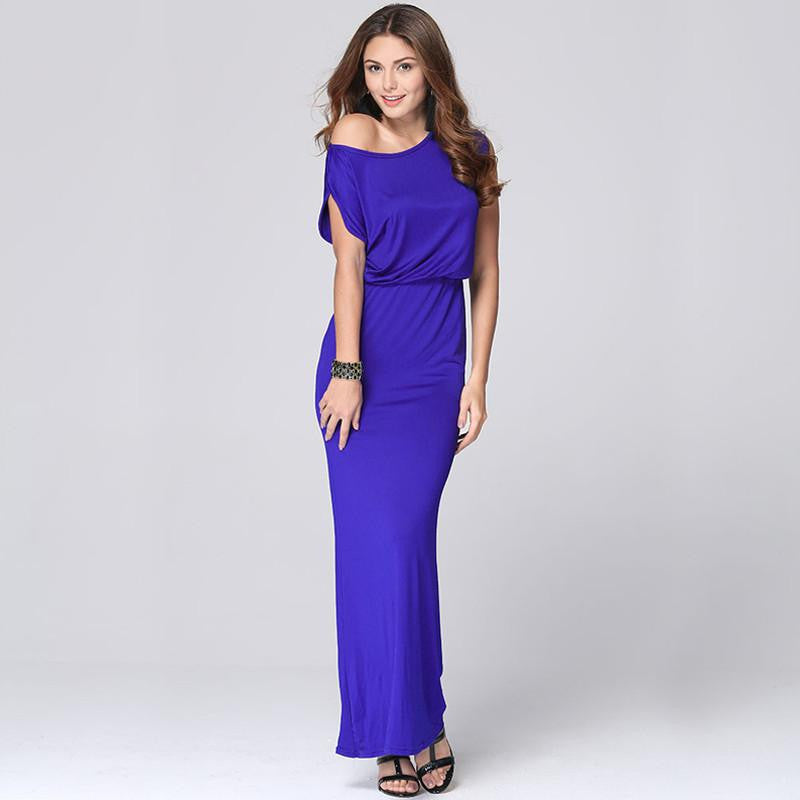 d08cd99843ba Sexy Club Prom Maxi Dress Summer Women Solid Off Shoulder Floor Length  Party Dress Vintage Bodycon