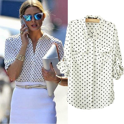 Online discount shop Australia - Fashion Women Blouse Long Sleeve Casual Shirt Polka Dot Printed chiffon Shirt Plus Size