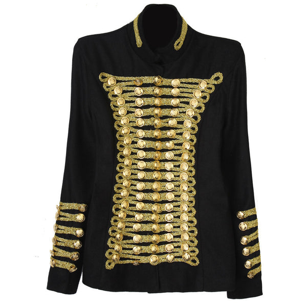 Runway Fashion Rock Punk Jacket Women's Wool Blends Gold Buttons Army Napoleon Jacket