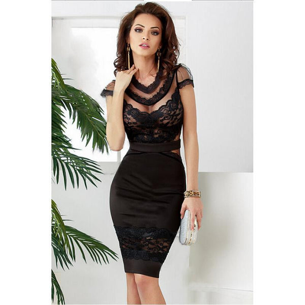 new summer black sexy Banded Floral Lace Dress cute sheath o-neck knee length midi dresses Short Sleeve Clubwear costume