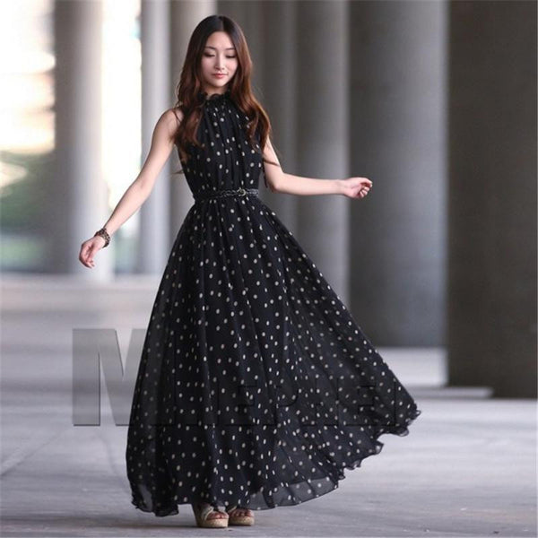 Women Polka Dots Maxi Long Dresses Casual Summer Beach Party Chiffon Dress Lady