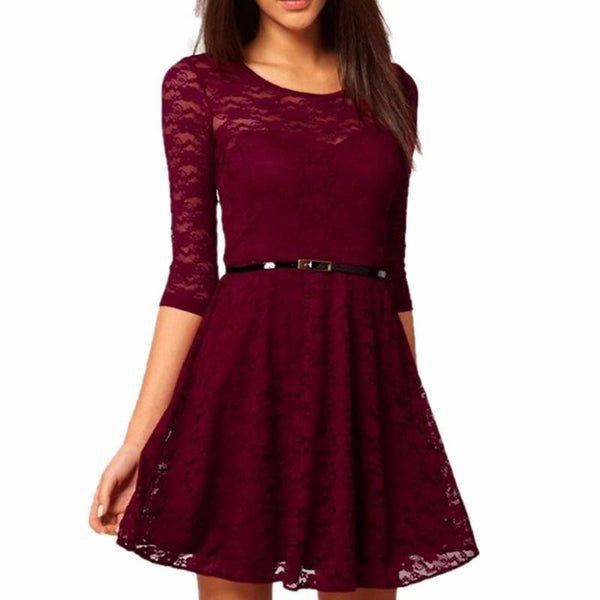 New Candy Color Elegant Lace Dress For Women Women Dresses Plus Size Fashion Lady Winter Dresses
