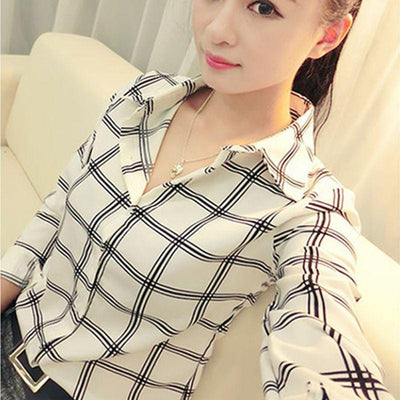 Women's Long Sleeve White Shirts Plaids Pattern Lapel Casual Blouse Tops Plus Size