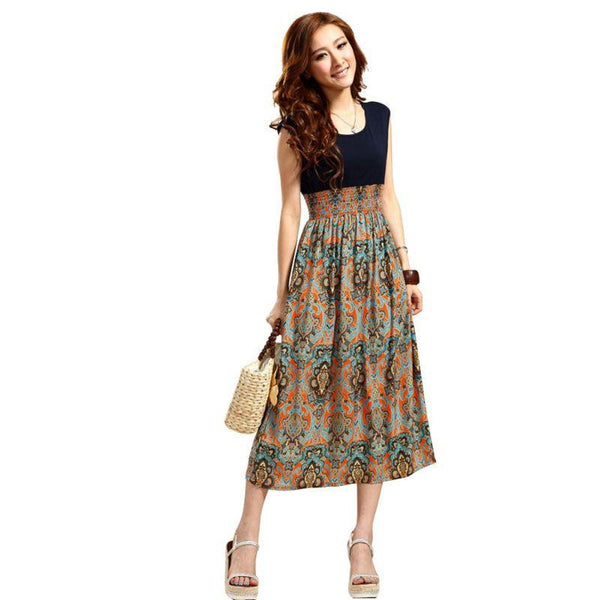 Women Casual Bohemian Vintage Print Patchwork Dress Long Summer Party Beach Dresses