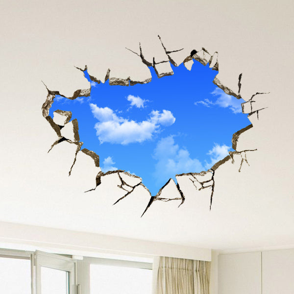 Online discount shop Australia - 3D sticker Wall Sticker 50*70CM landscape blue sky White Cloud poster quarto Bedroom wall decals stickers