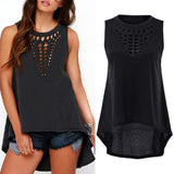 New Summer Women Ladies Sexy Hollow Out High Low T Shirt Dresses Casual Loose Asymmetrical Bandage Bodycon Party Dress Z2