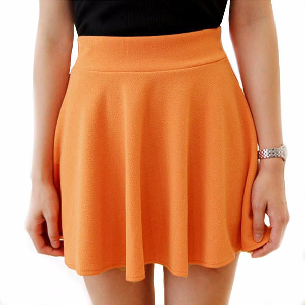 Womens Skirts High Waist Pleated Skirt Vintage Ladies Solid Color Skater Skirt For Women