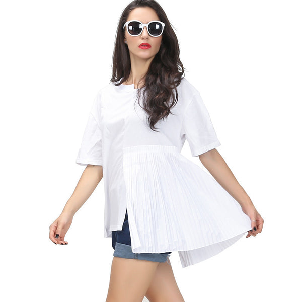 Online discount shop Australia - Asymmetrical pleating stitching short-sleeved women new