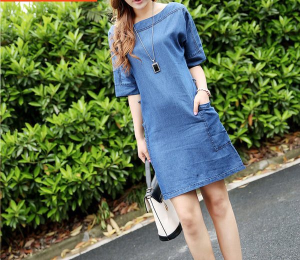 Online discount shop Australia - Latest Women Fashion Summer Denim Dress Plus Size 3XL Blue Mini Half Sleeve Casual Jeans Dresses European Style Q60