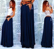 women Maxi Skirt Pleated Skirts solid blue street Clothes Casual long Skirt plus size