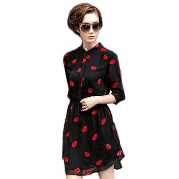 Online discount shop Australia - Embroided Dress Lips ChiffonThree Quarter Sleeve Stand Collar Adjustable Waist Casual Bodycon Ladies Shirt Dress Black Vestidos