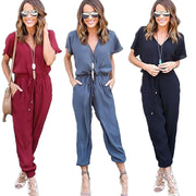 Plus Size Fashion Long Chiffon Rompers Womens Jumpsuit V neck Short Sleeve Loose Casual Full Length playsuit