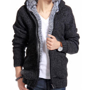 Online discount shop Australia - Jacket Men Thick Velvet Cotton Hooded Fur Jacket Mens Padded Knitted Casual Sweater Cardigan Coat Outdoors Parka