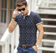 Short Sleeve Mens Polos Homme Turn Down white Collar Tops Cotton Dot Brand Fashion Striped xxxl Solid Clothing