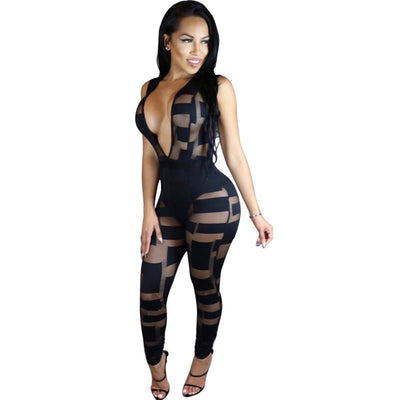 Sexy Jumpsuit Women Long Black White Bodycon Deep V Sleeveless Romper Playsuit Club Overalls One Piece Jumpsuit