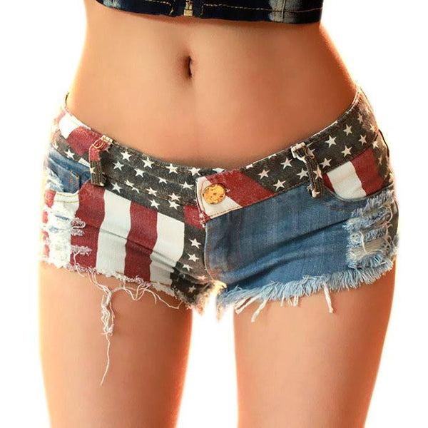 Women Shorts American US Flag Printed Mini Jeans Pants Denim Low Waist Tassel Hole Lady Short Pants