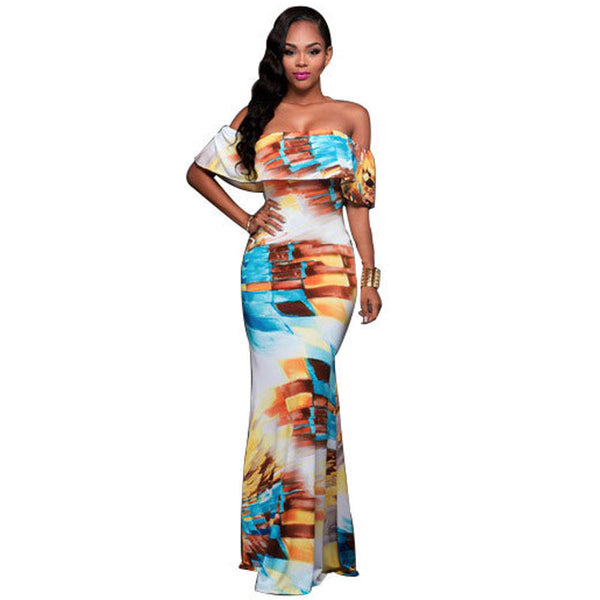 Online discount shop Australia - Fall Summer Ruffle Off Shoulder Maxi Dress Robe Sexy Party Dresses Backless Slim Elegant Vintage Floral Bodycon Long Dress