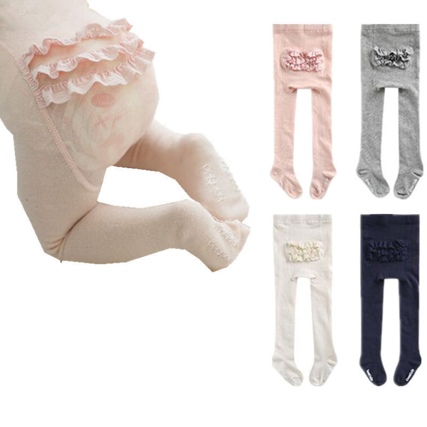 New Cotton Knitting Baby Girls Tights Lace Princess Style Soft Fashion Children Tights 0-4T