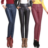 Pants High Waisted Outer Wear Women Fashion Slim Warm Windproof Plus Velvet Thick Down Pants Trousers