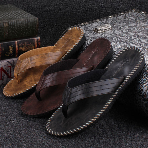 Online discount shop Australia - Cool Men Flip Flops British Style Boardered Beach Sandals Non-slide Male Slippers Zapatos Hombre