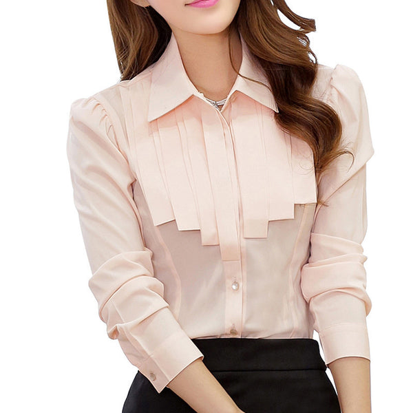 Office Lady White Chiffon Shirts Size S-2XL Ruffled OL Design Clothing New Career Women Casual Blouse