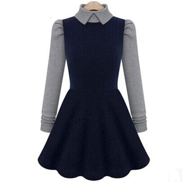 Winter Dress A Line Thicken Slim Thin Long Sleeve Dress Knit Bottoming Office Casual Dress