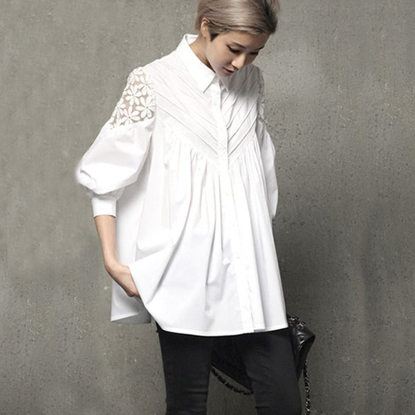 New Lace Stitching Slim Shirt and Blouse Lantern Sleeve Loose Korean Hollow Out Female Tops Shirt Blouse