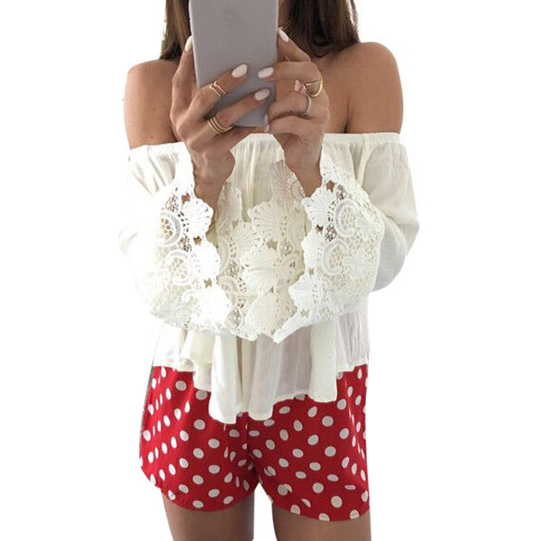 Online discount shop Australia - Feitong Sexy Women Casual Boho Lace Off Shoulder Shirt  Crop Tank Tops Blouse Shirts  White Blouse