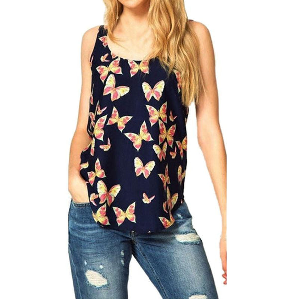 Online discount shop Australia - New Arrival 1PC Women  Butterfly Printed Sleeveless Chiffon Tank Top Shirts Crew Vest
