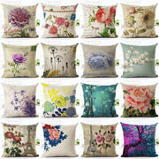Vintage Flowers Cotton Linen Cushion Cover Decorative Pillowcase Chair Seat and Waist Square 45x45cm Pillow Cover Home Living