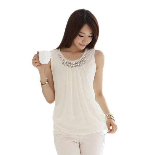 tops ladies Sleeveless vest chiffon blouse shirt women blouses woman clothes plus size