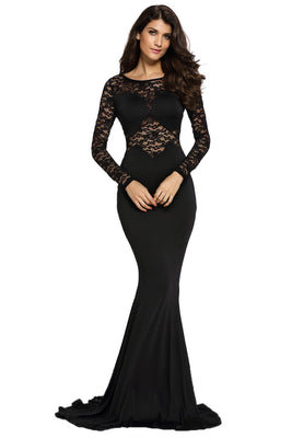Online discount shop Australia - Ladies Floor Length Dresses Black Lace Long Sleeve Evening Mermaid Party Long Dress