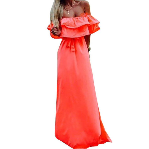 Women Dress Plus Size Long Maxi Lady Female Slash Neck Dresses Vestidos