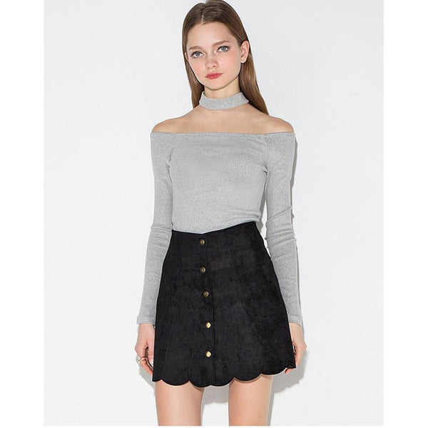 Suede Mini Brown Skate Skirts A Line Women Skirt Female Vintage Skirt Ladies Women's Clothing Button Plus Size Cool